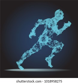 Abstract Polygonal Running man figure on dark background. Dotted connected Lines Sprinter Running figure