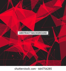 Abstract Polygonal Space Black Background with Red Connecting Shapes, Lines and Circles | Futuristic Vector Illustration