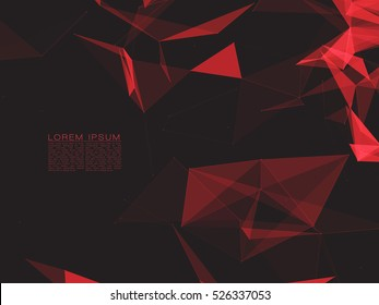 Abstract Polygonal Space Dark Background with Red Connecting Dots and Lines | EPS10 Vector Illustration