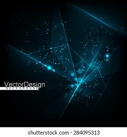 Abstract Polygonal Space Glow Dark Background