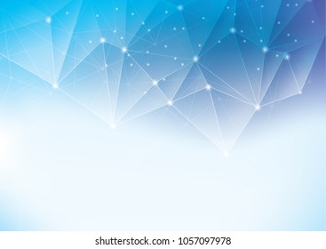 Abstract polygonal space low poly background with connecting dots and lines.