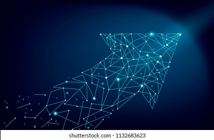 Abstract polygonal space low poly arrow connect dot line. Pointer connection structure. Futuristic fast growing increase profit business investment trend finance graph motion vector illustration