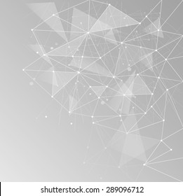 Abstract polygonal space low poly light grey background with connecting dots and lines. Connection structure. Vector science background. Polygonal vector background. Futuristic HUD background.Techno.