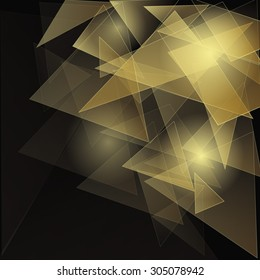 Abstract polygonal space low poly dark background with connecting dots and lines. Connection structure. Vector science background. Futuristic HUD background. Gold with black.