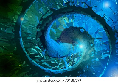 Abstract polygonal spiral composition on blue tone background art