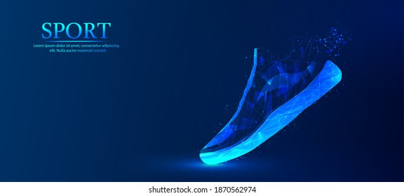 Abstract, polygonal, sports shoes. Fashionable modern design. The concept of sports shoes. Blue outline polygonal style, vector illustration.