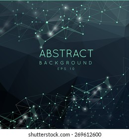Abstract polygonal surface background. Low poly mesh design with connecting dot and line. Connection triangle structure.  Vector geometry futuristic decoration. Greeting card. Spectrum concept.