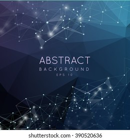 Abstract polygonal surface background. Low poly mesh design with connecting dot and line. Connection triangle structure.  Vector geometry futuristic decoration. Greeting card. Spectrumconcept