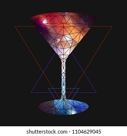 Abstract polygonal triangle cocktail with open space background inside.