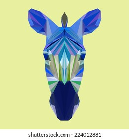 Abstract polygonal triangle zebra portrait. Vector graphic painted in imaginary blue colors zebra head icon for use in design card, banner, book, scrapbook, album etc. Nature, animal, wildlife theme.