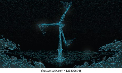 Abstract  Polygonal wireframe Low poly mesh wind energy poly, windmill,flying debris ,consisting of points lines, shapes,dots, stars.On blue night sky dark background