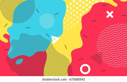 Abstract pop art color background with bright yellow, red and blue paint splash. Vector overlay pattern with black and white geometric forms with line and dots in trendy memphis 80s-90s style.