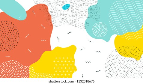 Abstract pop art color paint splash pattern background. Vector overlay geometric design of trendy Memphis 80s-90s style