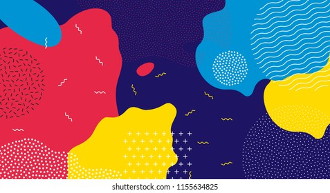 Abstract pop art line and dots color pattern background. Vector liquid splash overlay geometric design with trendy Memphis style