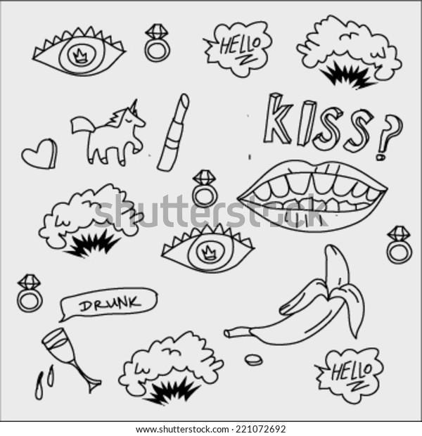 Abstract Pop Art Objects Fashion Texture Stock Vector