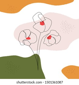 Abstract poppies flowers design. Vector one line floral art continuous line drawing in minimalist style. Contemporary line hand drawn botanical elements and abstract shapes