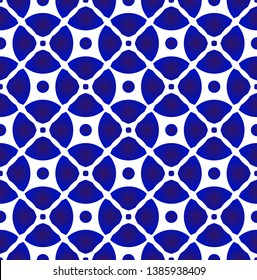 abstract porcelain pattern Japanese and Chinese style, modern ceramic seamless decor, blue and white pottery background, indigo wallpaper design, vector illustration