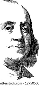 Abstract portrait of Benjamin Franklin vector similar as on front of the one hundred dollar bill