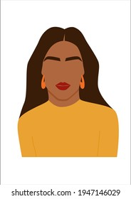 Abstract portrait of woman in bright top. Female with a summer look. Faceless beach character.  Minimalist vector illustration isolated on white background.