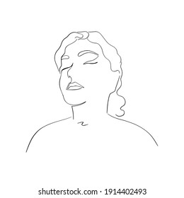 Abstract portrait of a young woman with closed eyes. Drawn with one line. Minimalistic contour silhouette. Vector illustration isolated on white background.