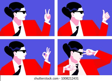 Abstract portraits of business woman, showing signs ok and victory. Set of vector illustration