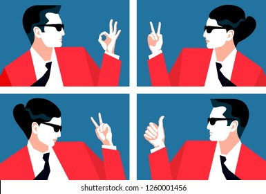 Abstract portraits of businessman and business woman celebrating success, showing hand signs ok and victory. Set of vector illustration