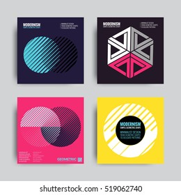 Abstract Posers Set. Art Graphic Backgrounds in Retro Swiss Flat Style. Isolated Figure, Shape, Icon, Logo for Covers, Placards, Posters, Flyers, Banner Designs. Vector Illustration in Violet, Pink