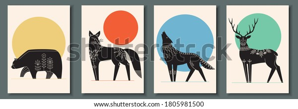 Abstract poster collection with animals: bear, fox, wolf, deer. Set of contemporary scandinavian art print templates. Ink animals with floral ornament and geometrical shapes on the background.