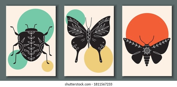 Abstract poster collection with hand drawn, insects: bug, moth, butterfly. Set of contemporary scandinavian print templates. Ink beetles with floral ornament and geometrical shapes on back
