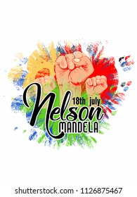 abstract or poster for illustration  International Nelson Mandela Day,18th of July, with creative design illustration.