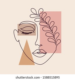 Abstract poster with minimal woman face.One line drawing style. - Shutterstock ID 1588515895