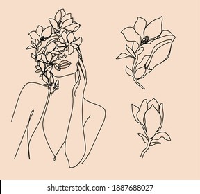 Abstract poster with minimal woman face.One line drawing style. Flower head. Botanical print. Beauty salon logo. Minimalist portrait