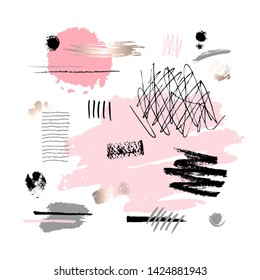 Abstract poster pastel makeup strokes. Set beauty cosmetic nude brush stains smear make up lipstick swatches texture isolated pink gold paint line golden foil texture. Hand drawn vector illustration.