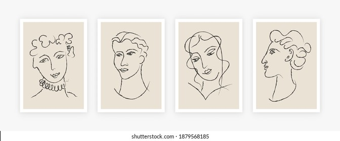 Abstract poster set. Matisse inspired hand drawn contemporary portraits for print wall art decor mid-century style. Creative vector art