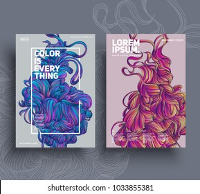 Abstract poster templates. Colorful threads composition. Esp10 vector.