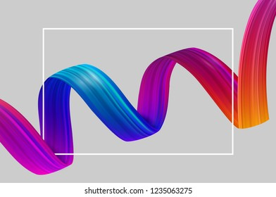 Abstract poster with white frame and colorful brushstroke. Creative design template. Vector paper background.