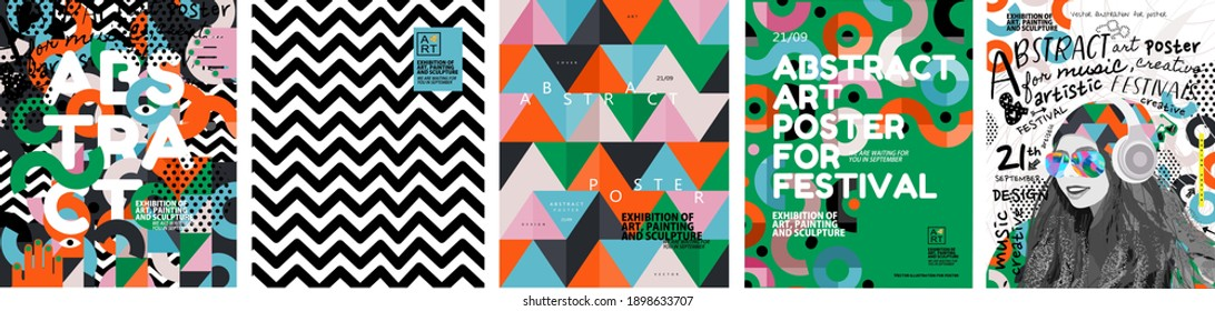 Abstract posters for art and music festivals. Vector illustrations of youth, modern backgrounds, textures and patterns and eclecticism. Drawings and geometric shapes