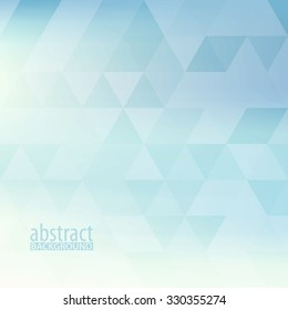 Abstract powder blue pattern textured by triangles. Light pale vector background