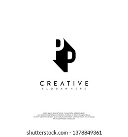 abstract PP logo letter in shadow shape design concept