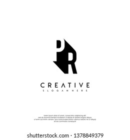abstract PR logo letter in shadow shape design concept