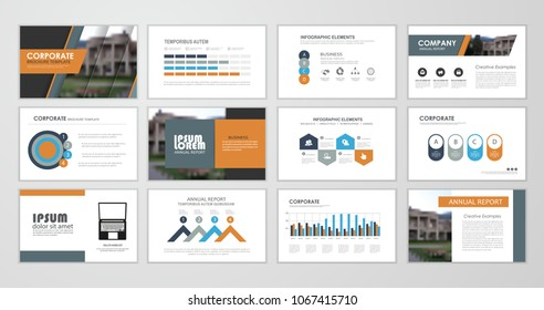 Abstract presentation slide templates. Infographic elements template  set for web, print, annual report brochure, business flyer leaflet marketing and advertising template. Vector Illustration