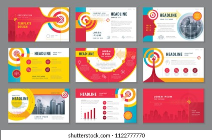 Abstract Presentation Templates Design Set, Infographic elements, Colorful Abstract Arrow and Target Background vector, Path to the goal, Concept growth to success, Reach the target.