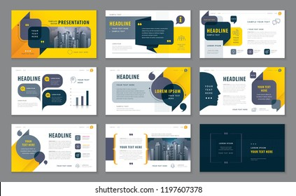 Abstract Presentation Templates, Infographic Black and Yellow elements Template design set for Brochures, flyer, Messages ,Questions and Answers, social networks, talk bubbles vector, company Profile