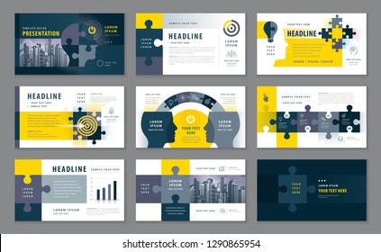 Abstract Presentation Templates, Infographic Black & Yellow elements Template set, Jigsaw puzzle pieces & Human head Vector, Path to goal, Concept growth to success, Start up, Reach the target