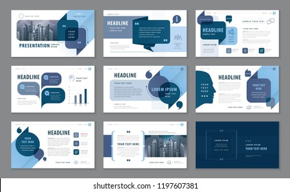 Abstract Presentation Templates, Infographic Blue elements Template design set for Brochures, flyer,Messages, flyer, magazine,Questions and Answers, social networks,talk bubbles vector,company Profile