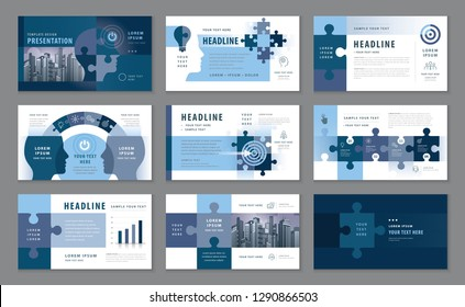 Abstract Presentation Templates, Infographic Blue elements Template design set, Jigsaw puzzle pieces & Human head Background vector, Path to goal, Concept growth to success, Start up, Reach the target