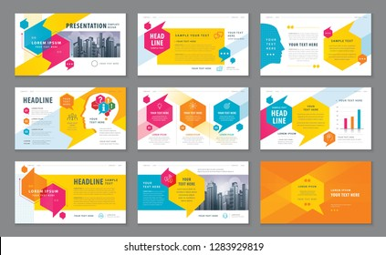 Abstract Presentation Templates, Infographic Color elements Template design set for Brochures, flyer, leaflet, magazine, card, annual report, Questions and Answers, social networks, talk bubbles