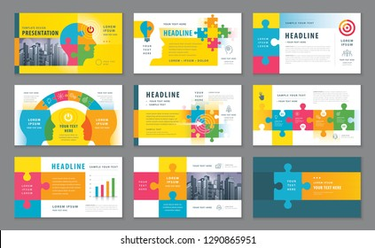 Abstract Presentation Templates, Infographic Colorful elements Template design set, Jigsaw puzzle pieces and Human head Background vector, Template Brochures, flyer, leaflet, Path to goal Concept