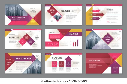Abstract Presentation Templates, Infographic elements Template design set for Brochures, flyer, leaflet, magazine, Red Geometric Arrow Background vector, Forward target business concept