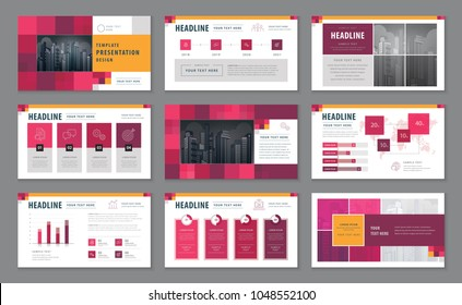 Abstract Presentation Templates, Infographic elements Template design set for Brochures, flyer, leaflet, magazine, annual report, Blue geometric, Abstract square pattern